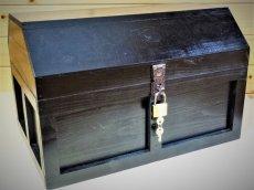 画像2: 【海賊宝箱】シンプル海賊箱(特大)ブラック塗装 ロゴ、三方飾り金具なし (2)