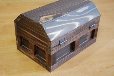画像3: 【海賊宝箱】シンプル海賊箱(小)焼杉仕様 ロゴ、三方飾り金具なし