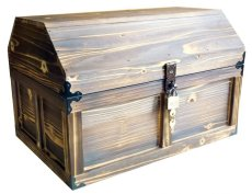 画像5: 【海賊宝箱】デラックス海賊箱(特大)焼杉仕様 三方飾り金具仕上げ (5)