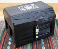 画像4: 【海賊宝箱】シンプル海賊箱(大)ブラック塗装 ロゴあり、三方金具なし (4)