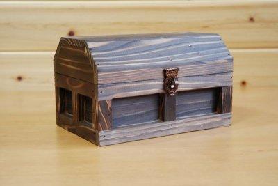 画像1: 【海賊宝箱】シンプル海賊箱(小)焼杉仕様 ロゴ、三方飾り金具なし