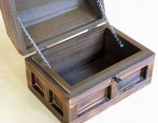 画像4: 【海賊宝箱】シンプル海賊箱(小)焼杉仕様 ロゴ、三方飾り金具なし (4)