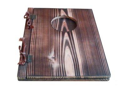 画像2: 【木製メニューブック】 綴じ紐窓穴タイプ(A4縦型):焼杉仕様