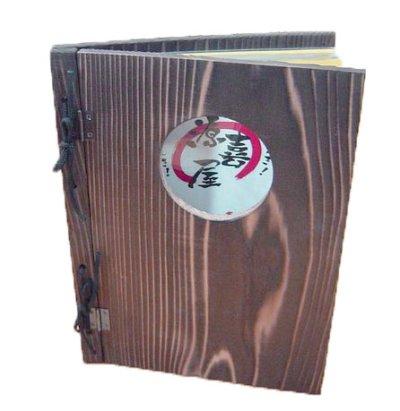 画像3: 【木製メニューブック】 綴じ紐窓穴タイプ(A4縦型):焼杉仕様