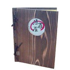 画像6: 【木製メニューブック】 綴じ紐窓穴タイプ(A4縦型):焼杉仕様 (6)