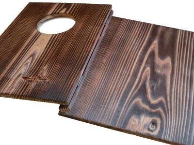 画像1: 【木製メニューブック】 綴じ紐窓穴タイプ(A4縦型):焼杉仕様