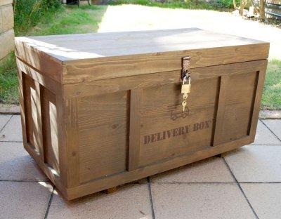 画像1: 【宅配ボックス】ビンテージ感たっぷりおしゃれな木製宅配BOX(宅急便収納箱・受け)