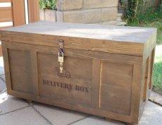 画像9: 【宅配ボックス】ビンテージ感たっぷりおしゃれな木製宅配BOX(宅急便収納箱・受け) (9)
