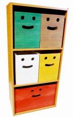 画像6: 【桐製にこにこカラーボックス】市販のカラーボックスにピッタシ! カラフルな桐製収納箱 木製シェルフ ストレージボックス おしゃれな木の雑貨 [CB200] (6)