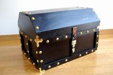 画像5: 【海賊宝箱】デラックス海賊箱(特大)プレミアム・ブラック 金鋲、三方飾り金具仕上げ (5)