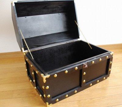 画像3: 【海賊宝箱】デラックス海賊箱(特大)プレミアム・ブラック 金鋲、三方飾り金具仕上げ
