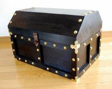 画像7: 【海賊宝箱】デラックス海賊箱(特大)プレミアム・ブラック 金鋲、三方飾り金具仕上げ (7)