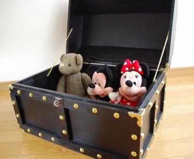 画像2: 【海賊宝箱】デラックス海賊箱(特大)プレミアム・ブラック 金鋲、三方飾り金具仕上げ