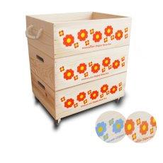 画像11: 【3段セット】【ばら売り可】【ワインボックス】 レトロ花柄のおもちゃ箱、収納箱 (11)