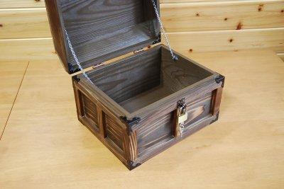 画像3: 【海賊宝箱】デラックス海賊箱(大)宝箱 焼杉仕様 三方飾り金具仕上げ
