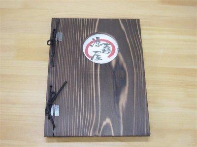 画像3: 【木製メニューブック】 綴じ紐窓穴タイプ(A4縦型):杉(透明)
