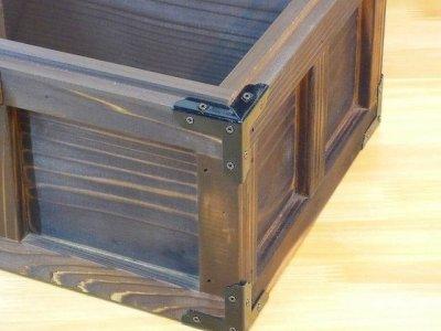 画像2: 【海賊宝箱】デラックス海賊箱(大)宝箱 焼杉仕様 三方飾り金具仕上げ
