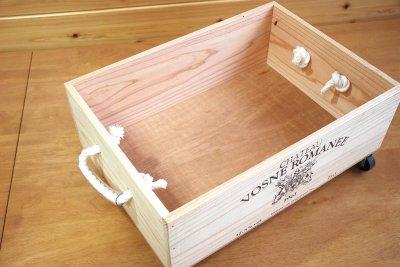 画像3: 【ワインボックス】ロープ取っ手、キャスター付きワイン木箱(ボックス)オリジナルロゴ入り ストレージボックス