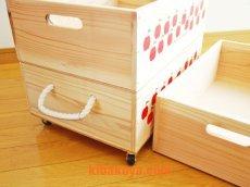 画像4: 【3段セット】 【ばら売り可】【ワインボックス】レトロなりんごちゃん柄のおもちゃ箱、収納箱 (4)