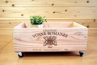 画像2: 【ワインボックス】ロープ取っ手、キャスター付きワイン木箱(ボックス)オリジナルロゴ入り ストレージボックス
