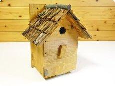 画像6: 【野鳥用巣箱】味のある職人手作り 杉皮屋根巣箱(完成品) (6)