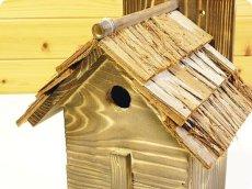 画像6: 【野鳥用巣箱】本格派職人手作り 焼き杉 杉皮屋根デラックス巣箱(完成品) (6)