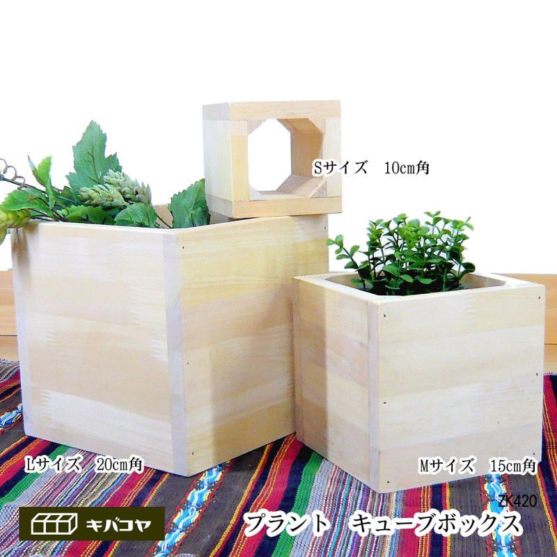 画像1: プラントキューブボックス (パイン材) [ZK420L] プランターカバー ガーデニング プランターカバー プランターボックス 植木鉢入れ 木製プランター (1)